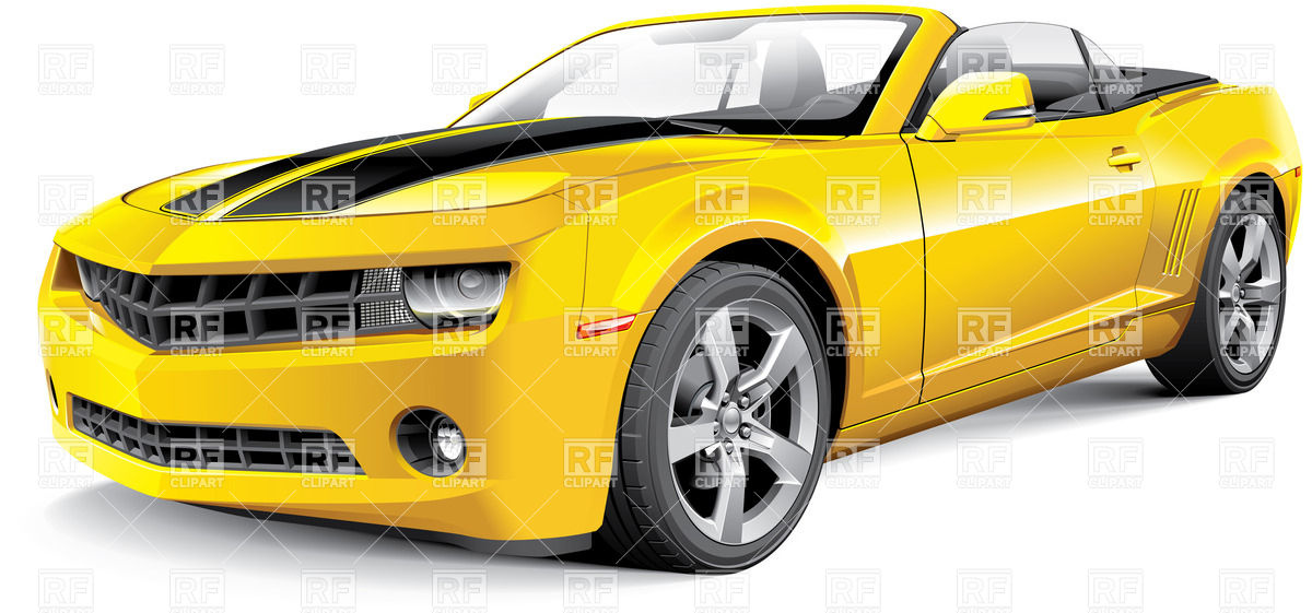1200x561 American Muscle Car With Black Racing Stripes