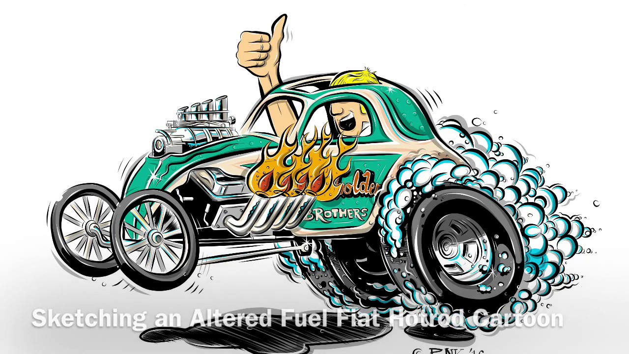 1280x720 Sketching A Hotrod Cartoon Drag Car (Ipad Pro Amp Apple Pencil
