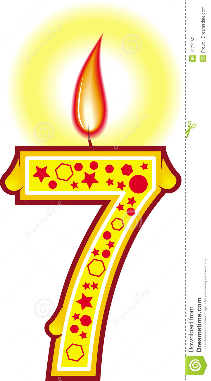 722x1300 7 Birthday Candle Clipart