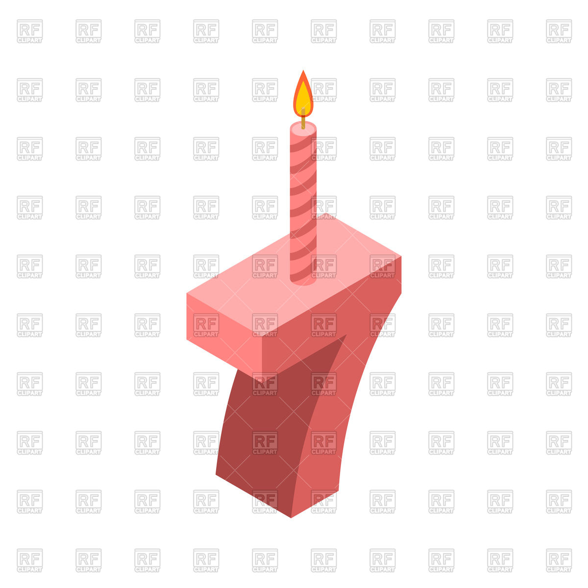 1200x1200 Number 7 And Candles For Birthday Cake, Seven Royalty Free Vector