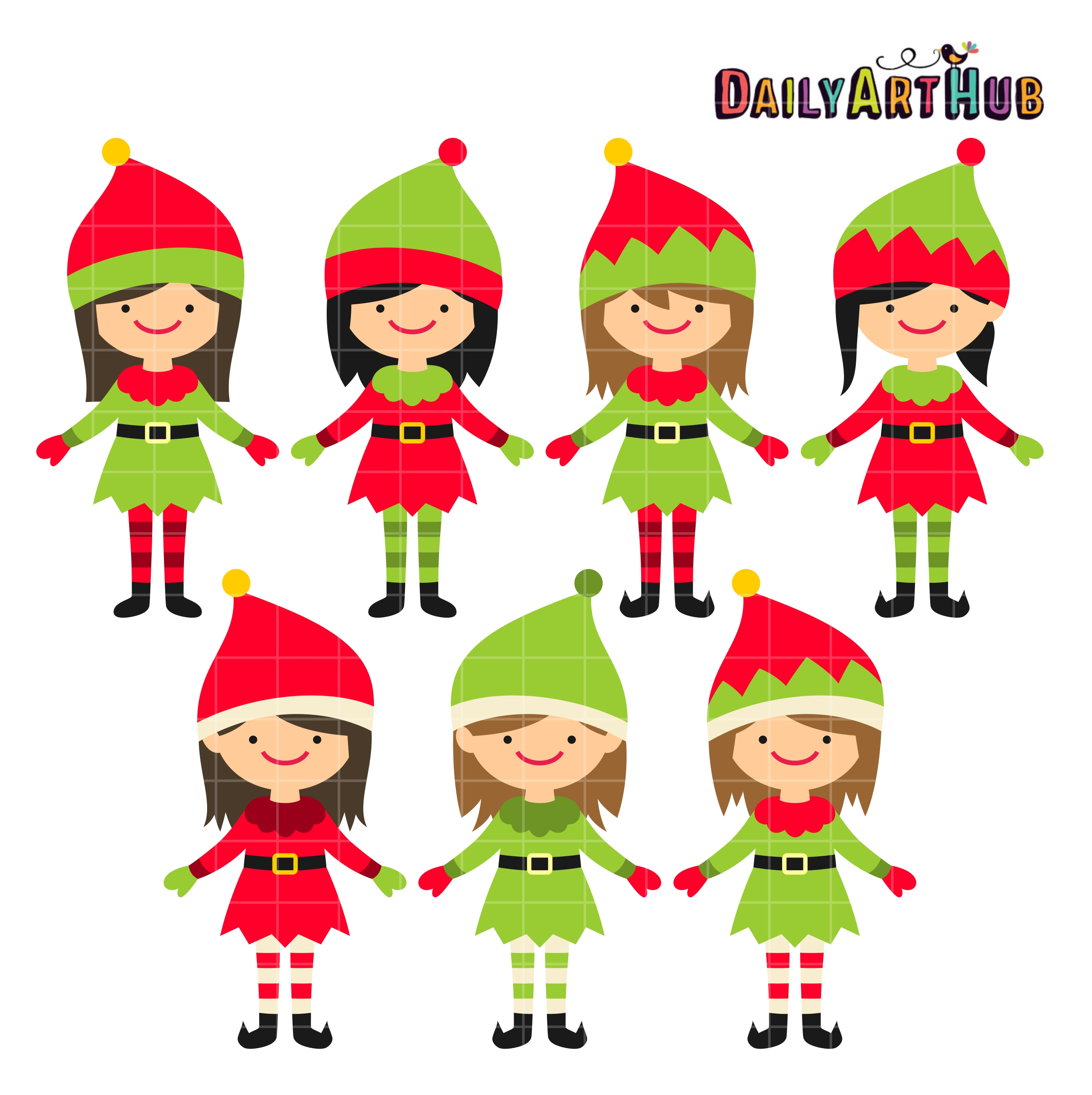 2664x2670 Christmas Cute Elves Clip Art Set Daily Art Hub Free Clip Art