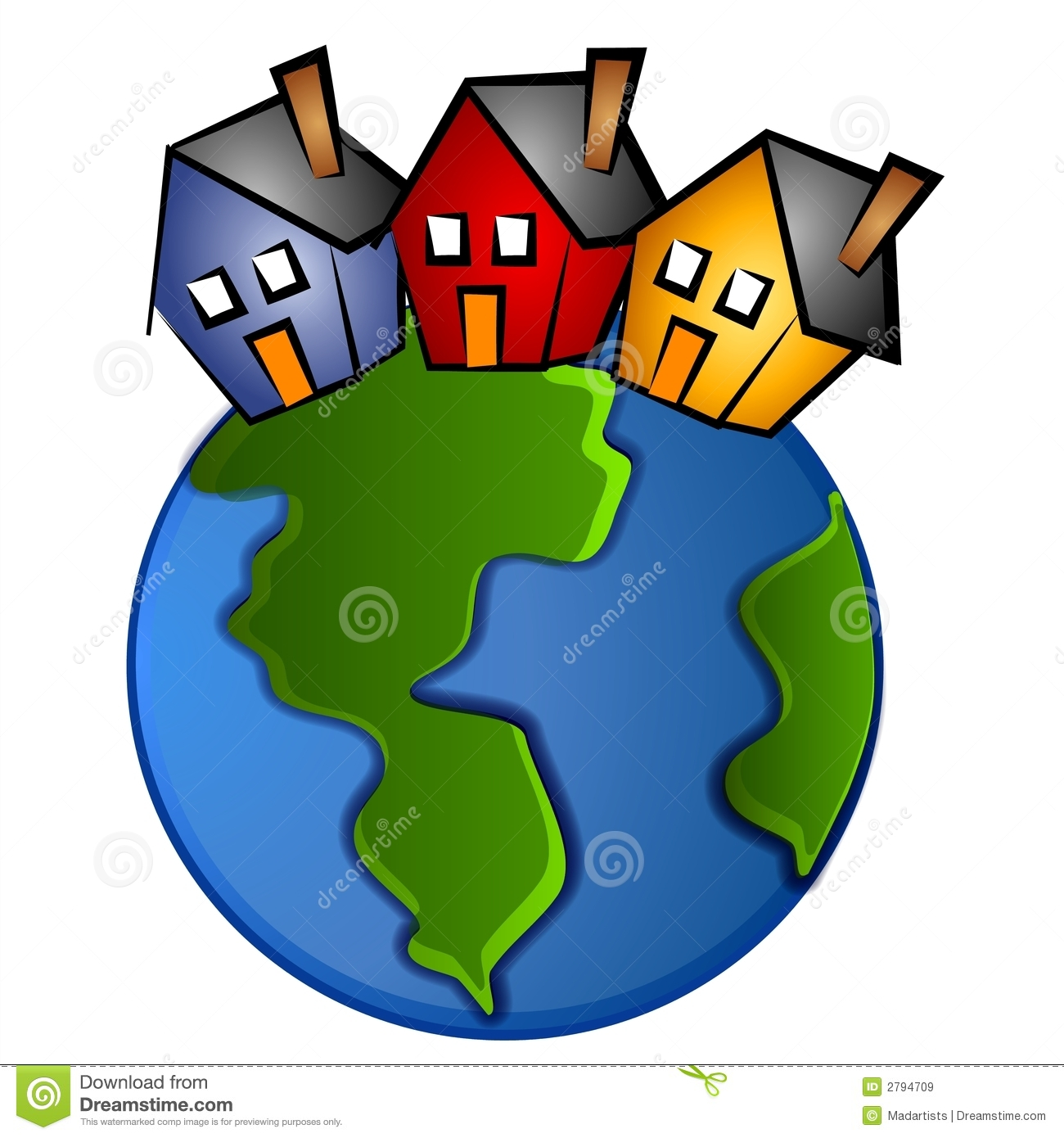 1300x1390 World And Houses Clipart