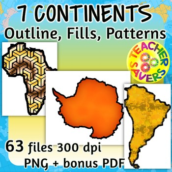 350x350 7 Continents Clip Art Set Commercial Use By Teachersavers Tpt