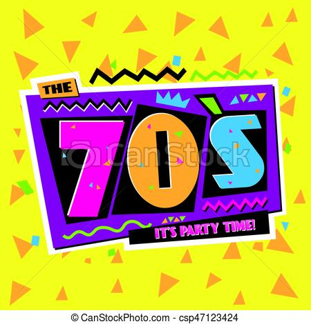 450x470 Party Time The 70 S Style Label. Vector Illustration. Party
