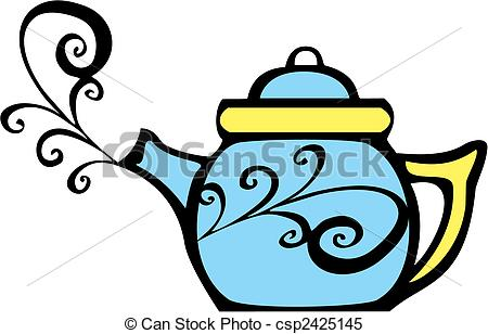 450x308 Swirl Teapot. Retro 70s Image Of A Psychedelic Teapot With Steam
