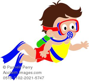 300x275 Clip Art Illustration Of A Cartoon Boy Scuba Diving