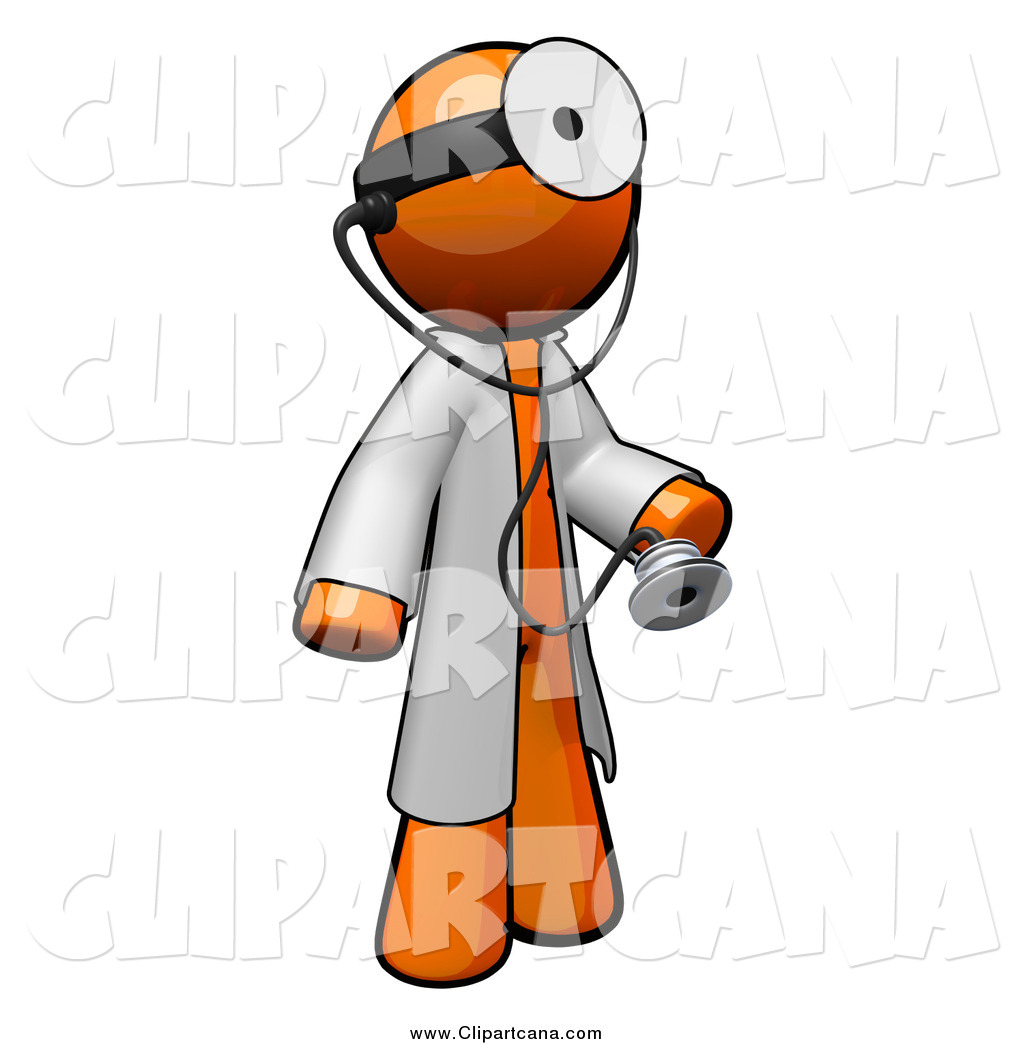 1024x1044 Clip Art Of A 3d Orange Doctor With A Stethoscope Wearing A Jacket