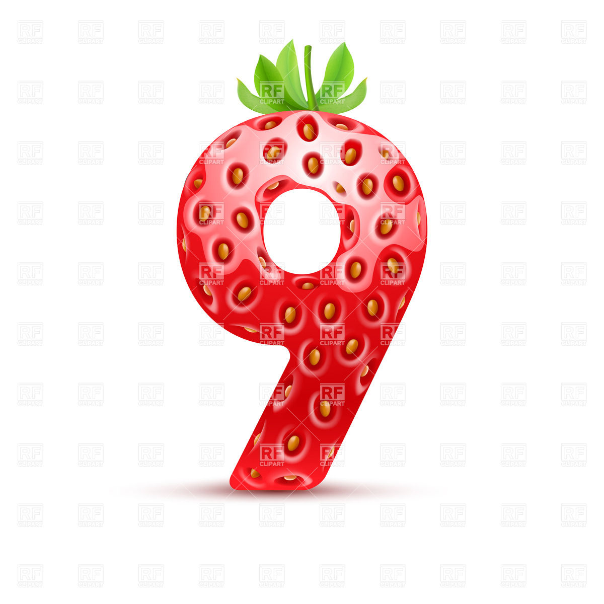 1200x1200 Strawberry Style Font, Number 9 Royalty Free Vector Clip Art Image
