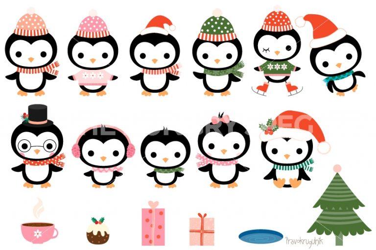768x511 Christmas Penguin Clipart Christmas Penguins Clipart Set Cute