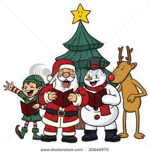 294x300 Cute Christmas Characters Singing Christmas Carols Clip Art Image