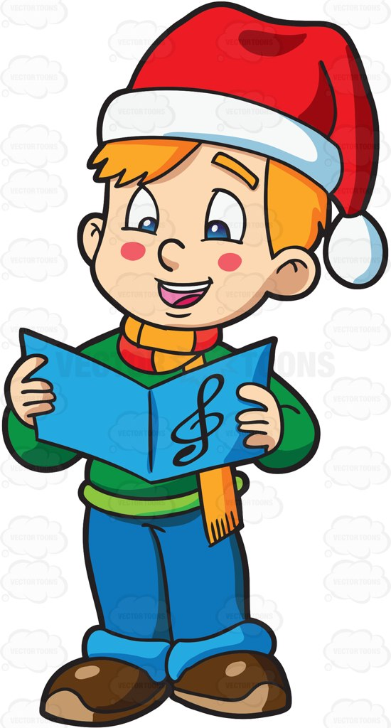 550x1024 A Boy Singing A Christmas Carol Cartoon Clipart Vector Toons