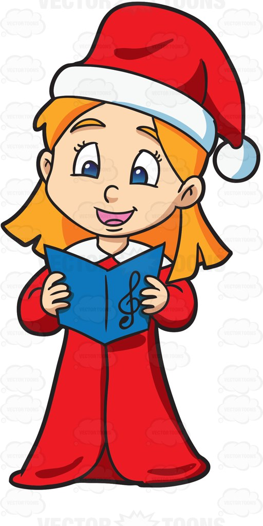 512x1024 A Girl Singing Some Nice Christmas Carol Cartoon Clipart Vector