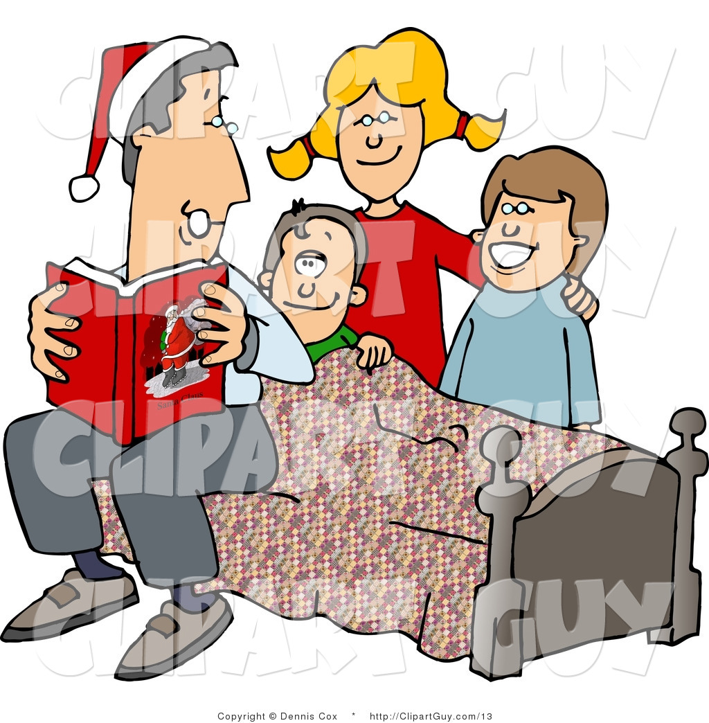 1024x1044 Clip Art Of A Dad Reading A Bedtime Christmas Story To His Sons