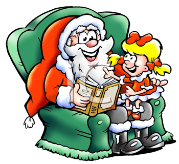 350x320 Santa Claus Sits In His Armchair And Read A Story With A Christmas