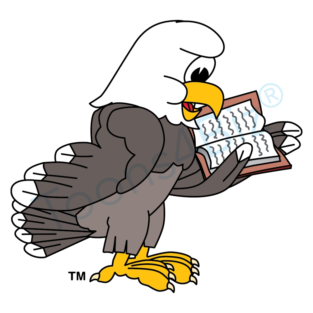 1000x1000 Bald Eagle Mascot Reading Book Clip Art