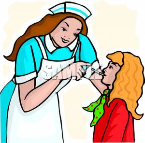 300x296 Clip Art Image A Nurse Taking A Girl's Temperature