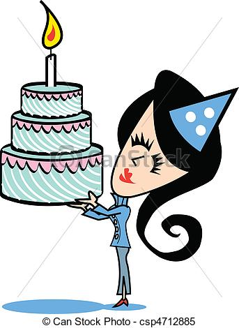 343x470 Girl With Birthday Cake Clip Art. Girl Or Woman With A Clipart