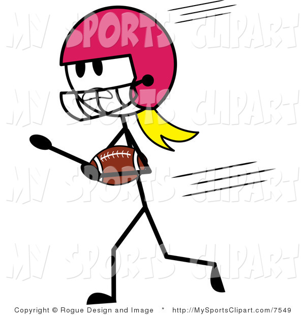 600x620 Sports Clip Art Of A Stick Woman Playing American Football By Pams
