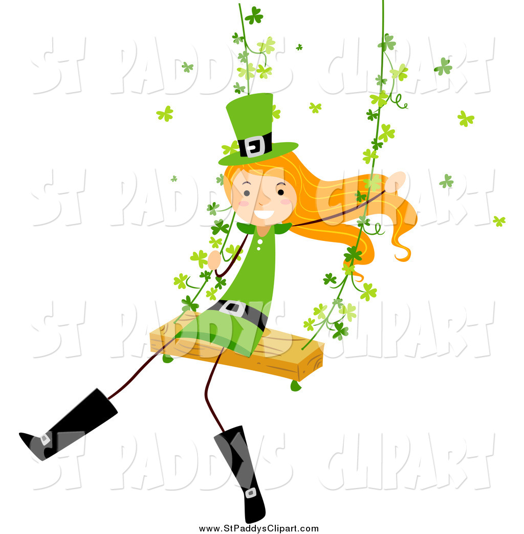 1024x1044 Vector Clip Art Of A Happy St Paddys Day Stick Girl Swinging By