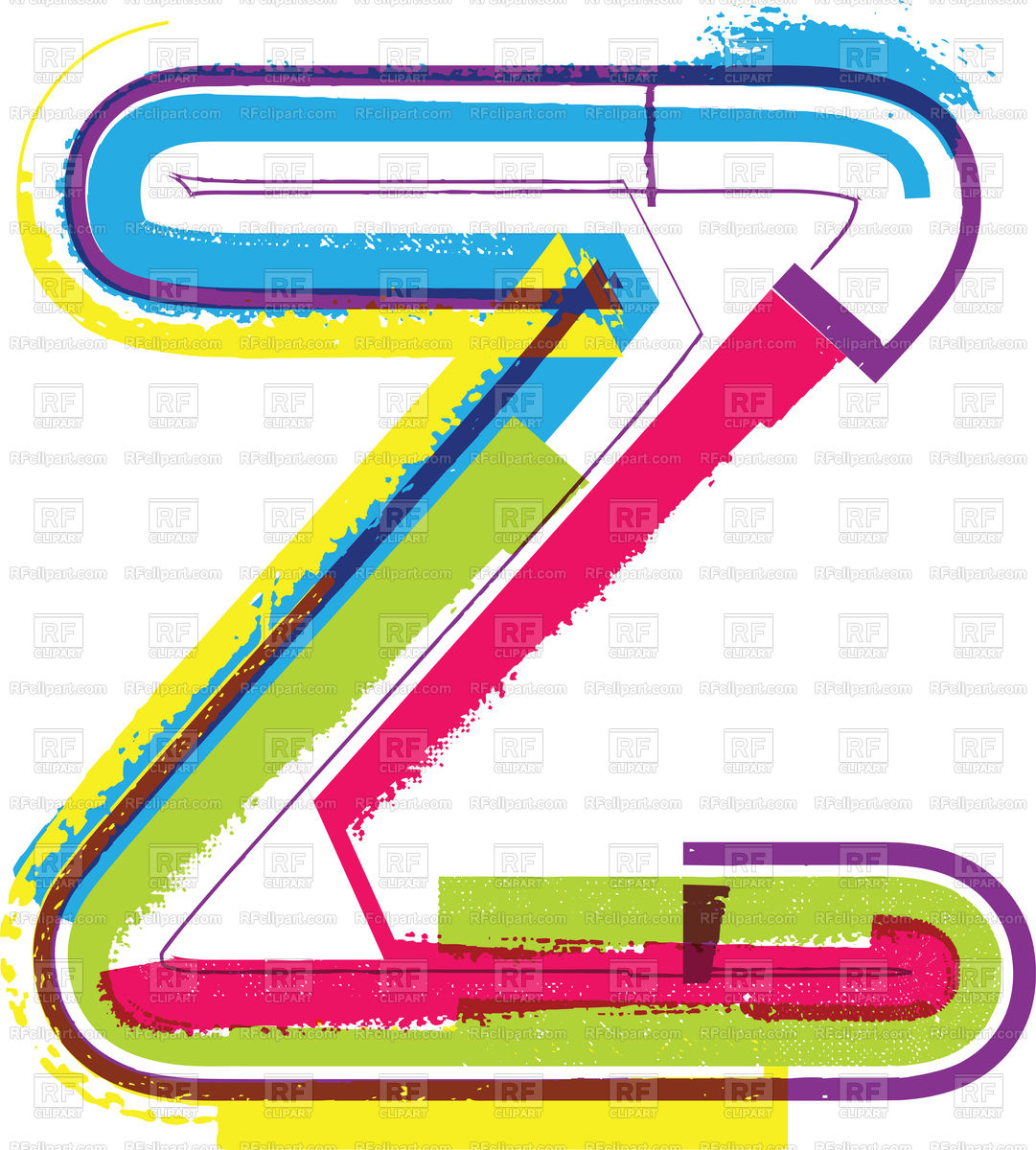 1081x1200 Letter Z Colorful Grunge Font Royalty Free Vector Clip Art Image