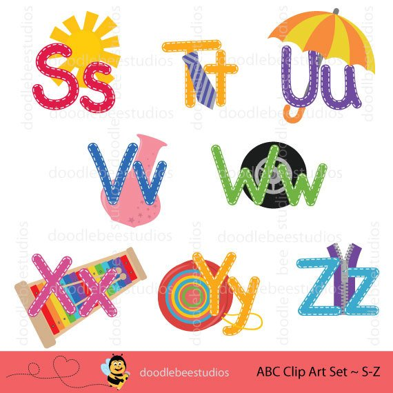 570x570 Abc Clipart Set, Alphabet Clip Art, Abc Clip Art, Stitched