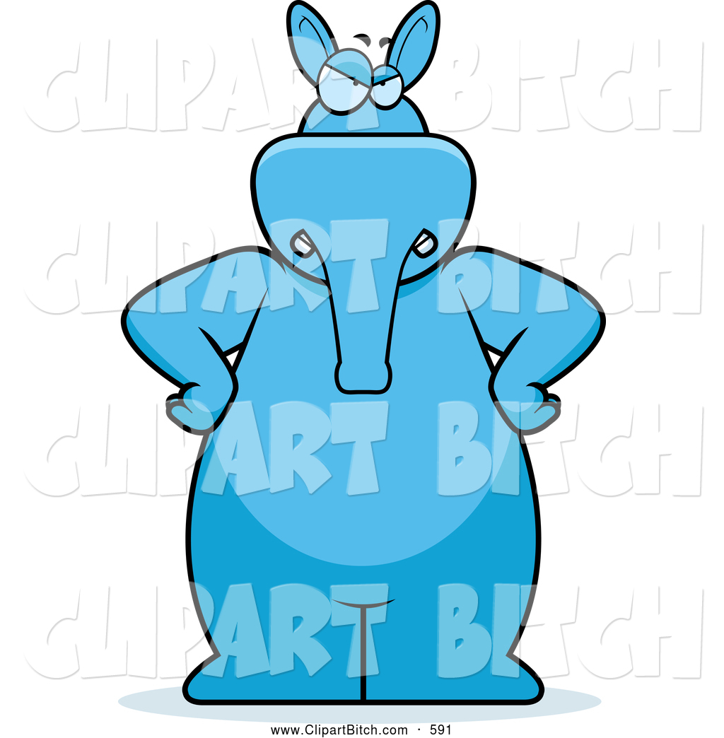1024x1044 Clip Vector Cartoon Art Of A Grumpy Big Blue Aardvark Standing