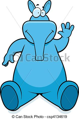 314x470 A Happy Cartoon Aardvark Sitting And Smiling. Eps Vectors