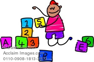 300x199 Clipart Illustration Of A Little Boy Playing With Building Blocks