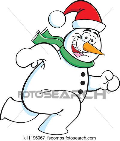 401x470 Snowman Running Clipart