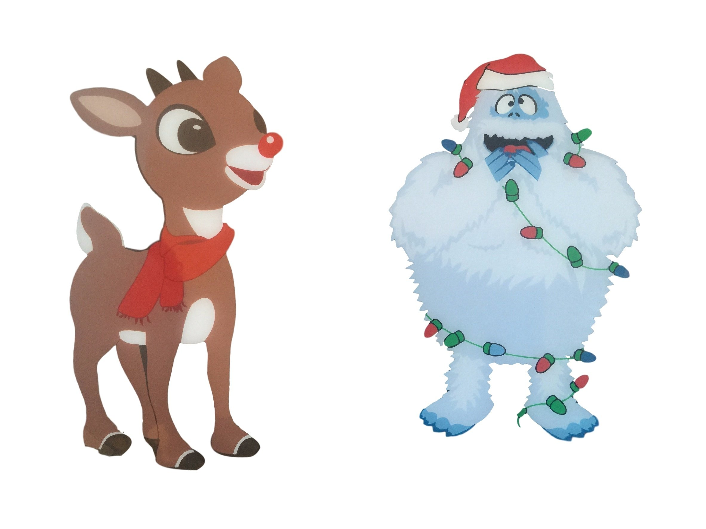 2365x1773 Abominable Snowman And Rudolph Red Nosed Reindeer Reuseable Window