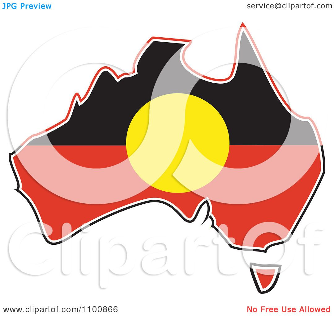 1080x1024 Clipart Australian Aboriginal Flag In The Shape Of The Continent