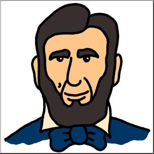 304x304 Clip Art Cartoon Faces Abraham Lincoln Color I