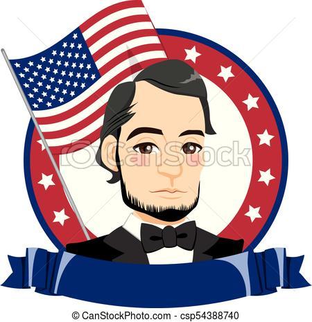450x465 Happy President Day. Abraham Lincoln Portrait For President Eps
