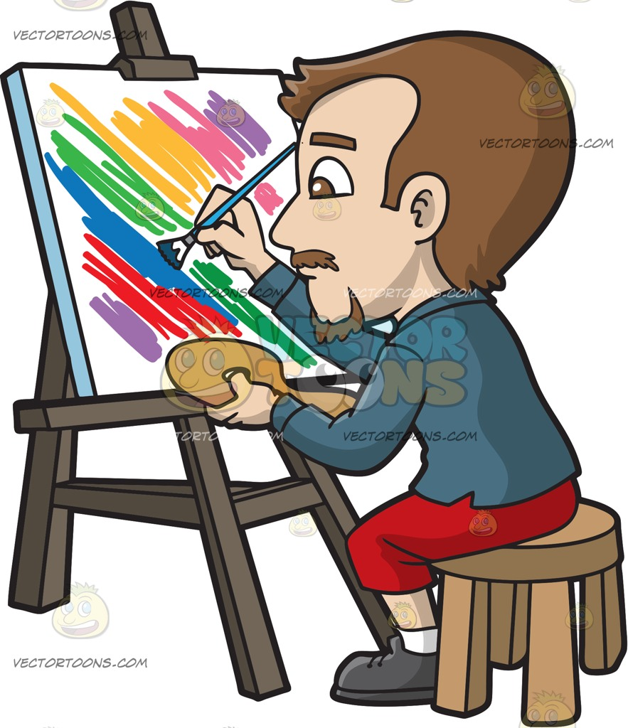 883x1024 A Man Painting A Striped Abstract Art Cartoon Clipart Vector Toons