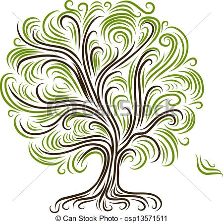 450x450 Abstract Tree With Roots For Your Design Vector Clip Art