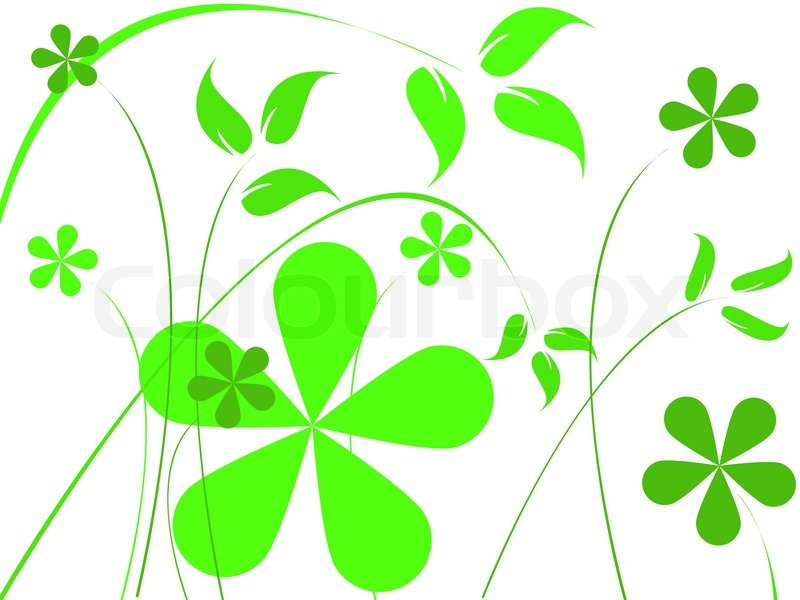 800x600 Green flowers, abstract vector art illustration Stock Vector