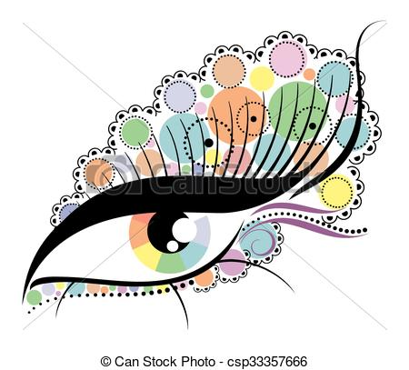 450x407 One Abstract Eye With The Eyelashes Clip Art Vector