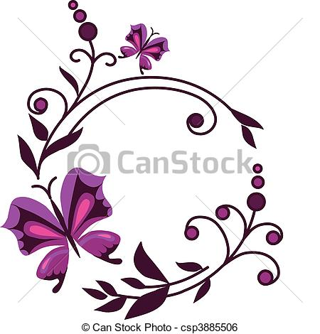 450x470 Pink Abstract Flowers With Butterflies 1. Pink Abstract Clip