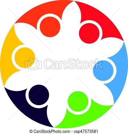 450x470 Vector of Abstract People Cooperation. Vector logo design template