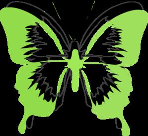 298x273 Green Black Butterfly Clip Art