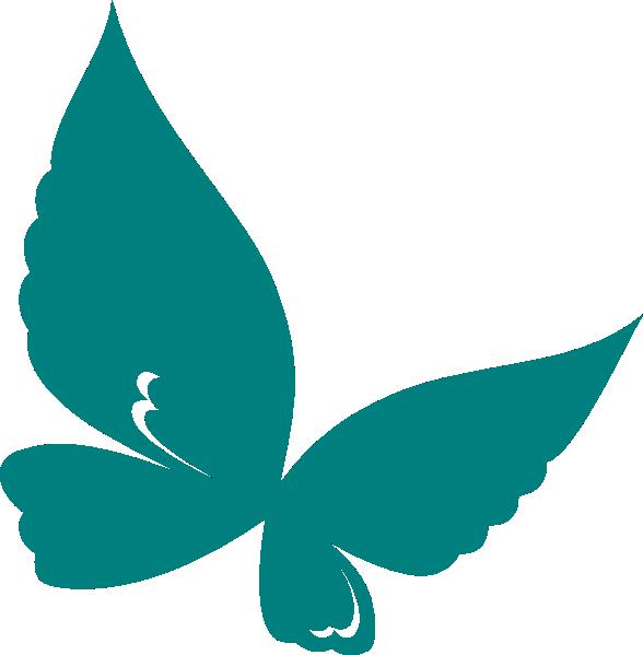 588x599 Teal Butterfly Clip Art