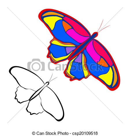 450x470 Vector Illustration Butterfly Abstract Sketch On A White