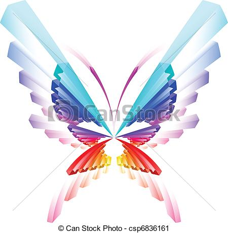 450x460 Abstract Colorful Butterfly. Illustration On White Vector Clip