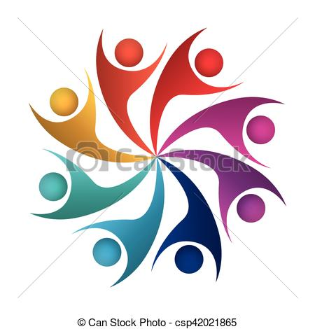 450x470 Teamwork With Abstract Figure Human Vector Illustration Clip Art