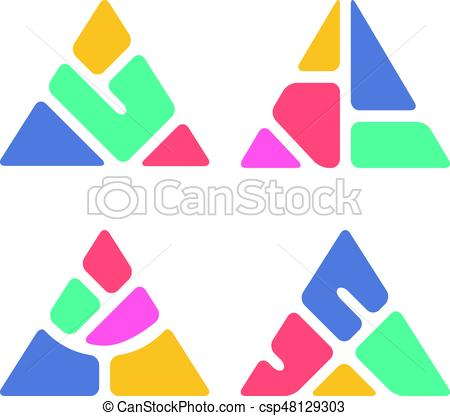 450x416 Abstract Triangle Symbol, Creative Design, Colorful Logo Vector