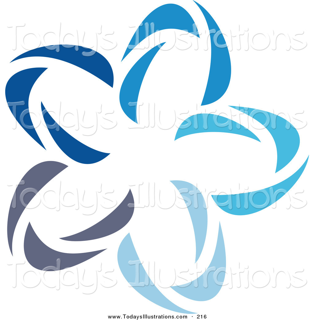 1024x1044 Clipart Of A Pretty Abstract Blue Star Logo Icon Over White By