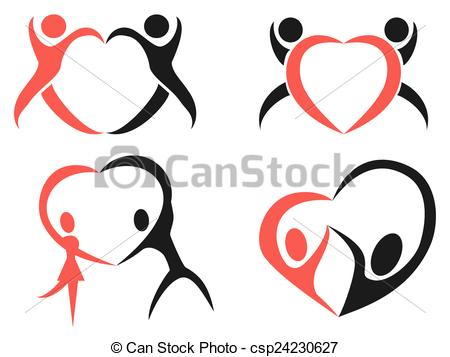 450x357 The Design Of Abstract People Heart Symbol On White Background.