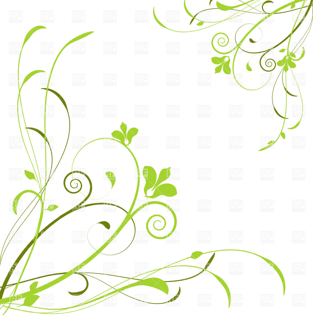1620x1620 Abstract Floral Design 3 Clipart 1195x1200 Background With Green Curly Flowers Royalty Free Vector