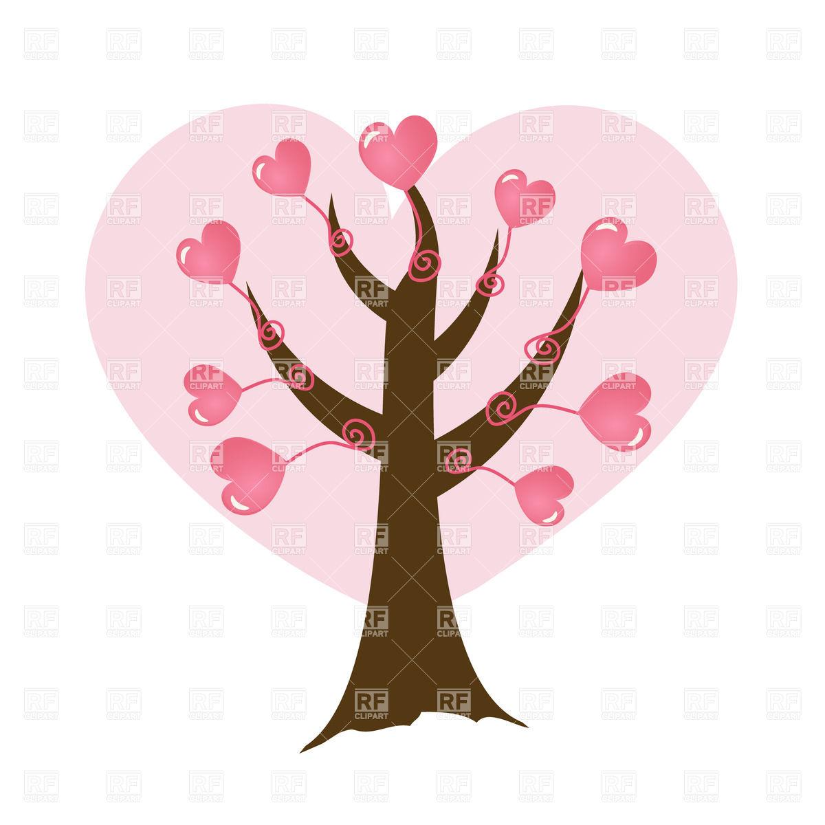 1200x1200 Abstract Cartoon Tree With Heart Look Foliage Royalty Free Vector