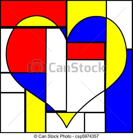 450x470 Abstract Colorful Heart. Abstract Heart Made With Pieces